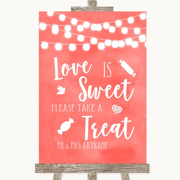 Coral Watercolour Lights Love Is Sweet Take A Treat Candy Buffet Wedding Sign
