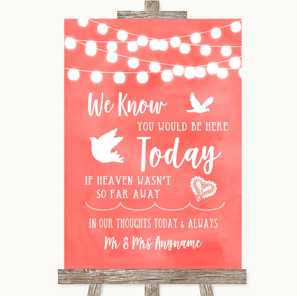 Coral Watercolour Lights Loved Ones In Heaven Personalised Wedding Sign