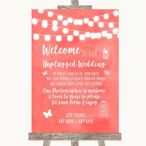 Coral Watercolour Lights No Phone Camera Unplugged Personalised Wedding Sign