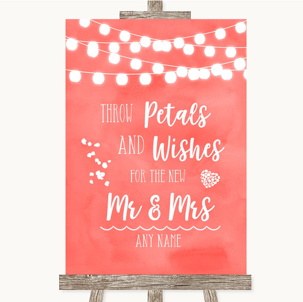 Coral Watercolour Lights Petals Wishes Confetti Personalised Wedding Sign