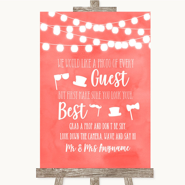 Coral Watercolour Lights Photo Prop Guestbook Personalised Wedding Sign