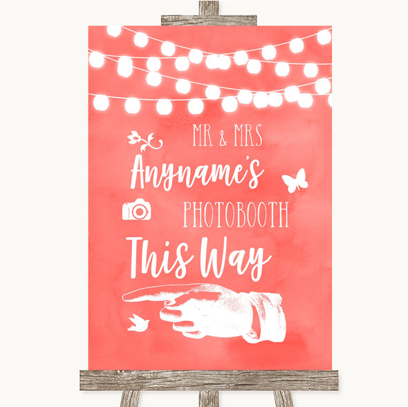 Coral Watercolour Lights Photobooth This Way Left Personalised Wedding Sign