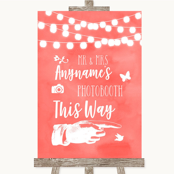 Coral Watercolour Lights Photobooth This Way Right Personalised Wedding Sign