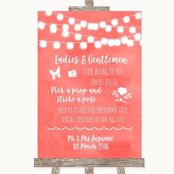 Coral Watercolour Lights Pick A Prop Photobooth Personalised Wedding Sign