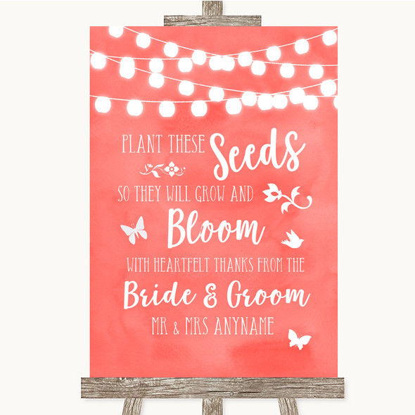Coral Watercolour Lights Plant Seeds Favours Personalised Wedding Sign