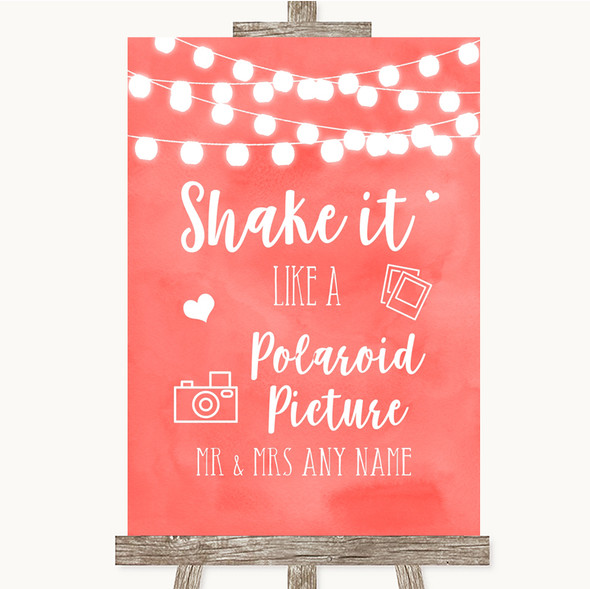 Coral Watercolour Lights Polaroid Picture Personalised Wedding Sign