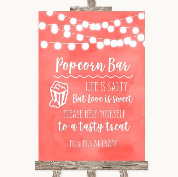 Coral Watercolour Lights Popcorn Bar Personalised Wedding Sign