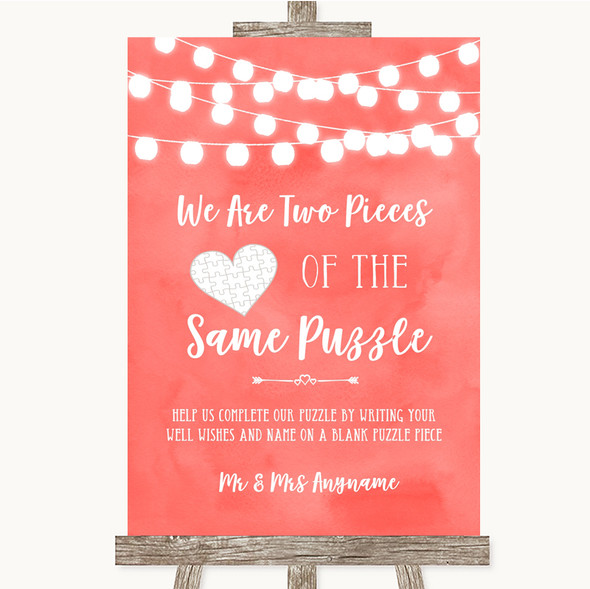 Coral Watercolour Lights Puzzle Piece Guest Book Personalised Wedding Sign
