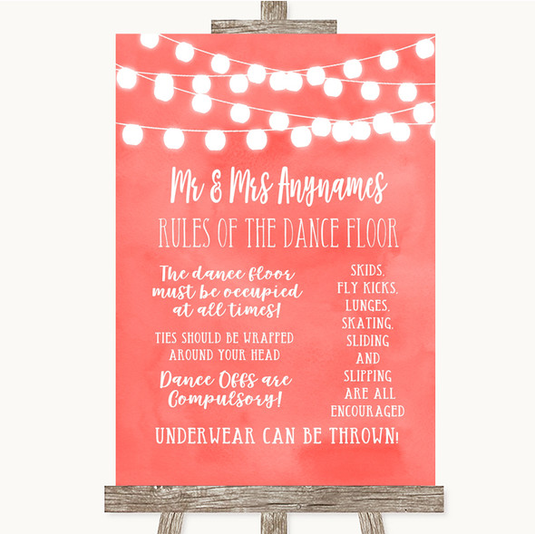 Coral Watercolour Lights Rules Of The Dance Floor Personalised Wedding Sign