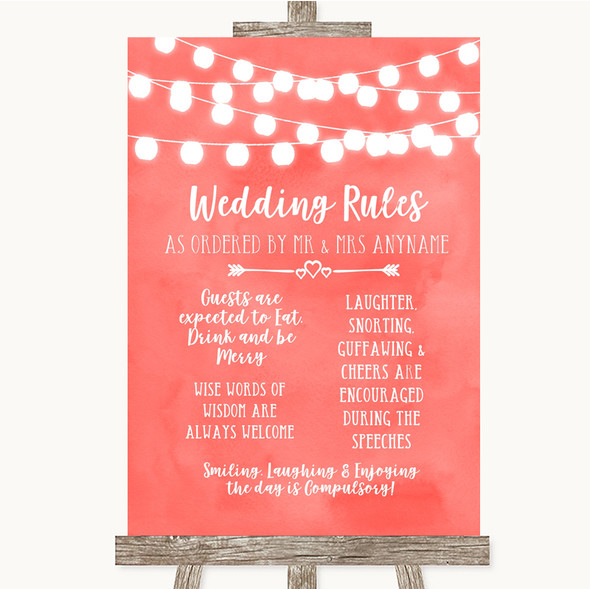 Coral Watercolour Lights Rules Of The Wedding Personalised Wedding Sign
