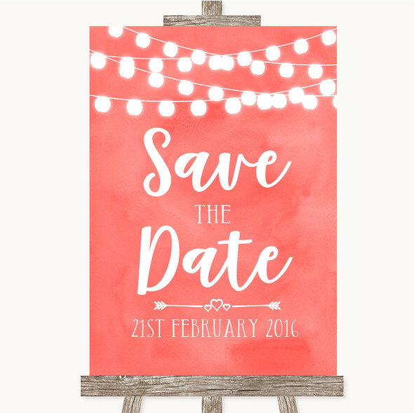 Coral Watercolour Lights Save The Date Personalised Wedding Sign