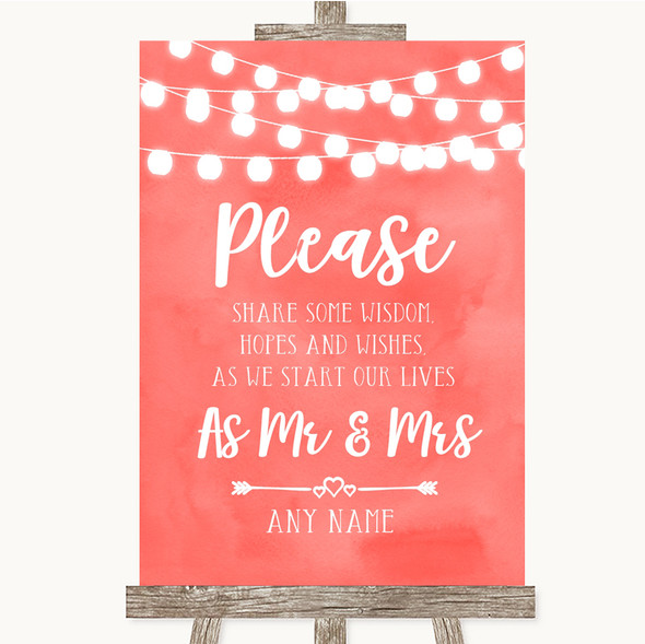 Coral Watercolour Lights Share Your Wishes Personalised Wedding Sign