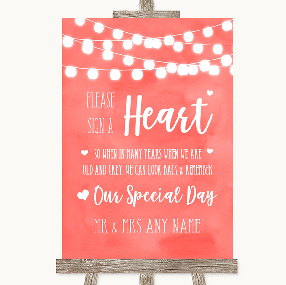Coral Watercolour Lights Sign a Heart Personalised Wedding Sign