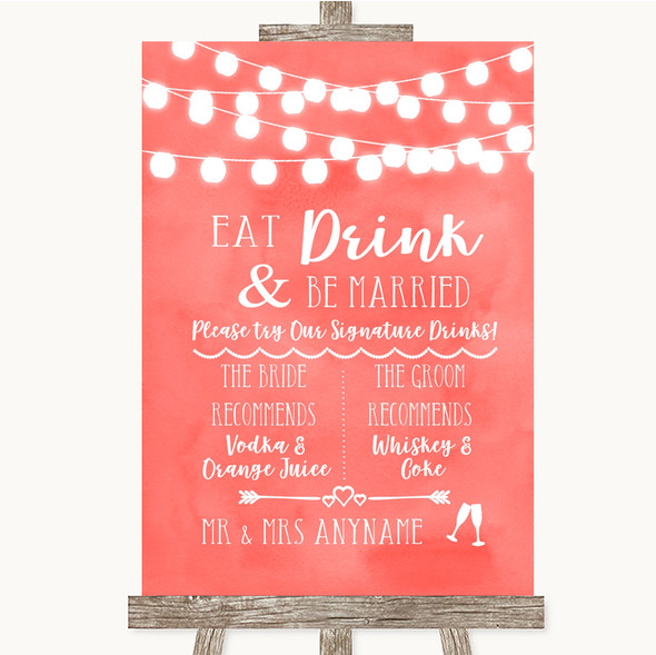 Coral Watercolour Lights Signature Favourite Drinks Personalised Wedding Sign