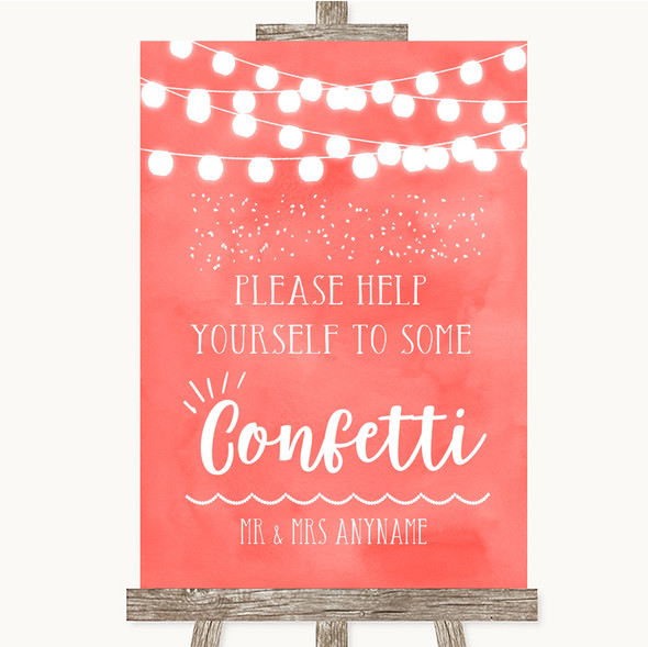Coral Watercolour Lights Take Some Confetti Personalised Wedding Sign