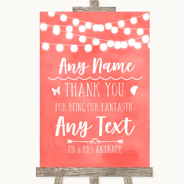 Coral Watercolour Lights Thank You Bridesmaid Page Boy Best Man Wedding Sign