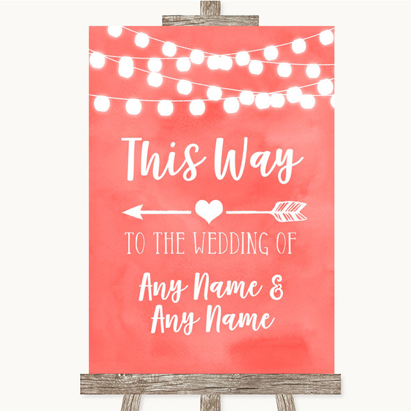 Coral Watercolour Lights This Way Arrow Left Personalised Wedding Sign