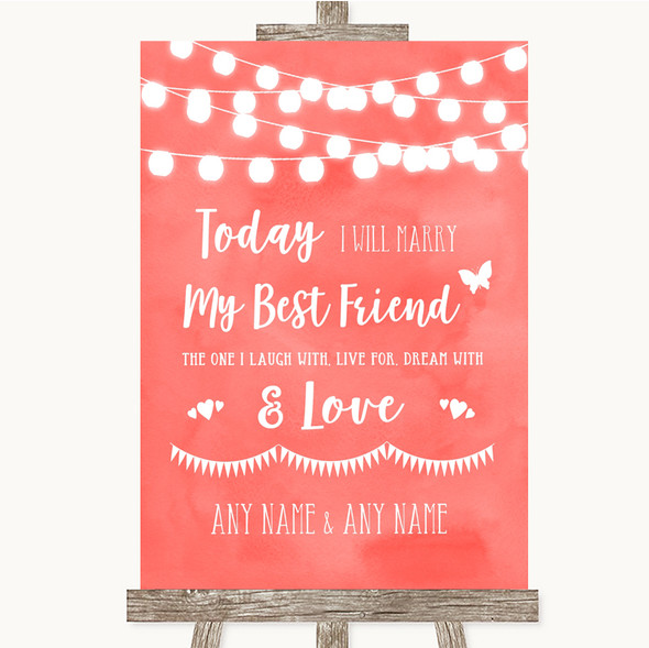 Coral Watercolour Lights Today I Marry My Best Friend Personalised Wedding Sign