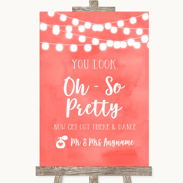 Coral Watercolour Lights Toilet Get Out & Dance Personalised Wedding Sign