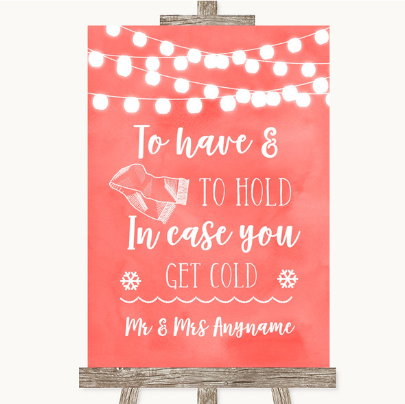 Coral Watercolour Lights Wedding Blanket Scarf Personalised Wedding Sign