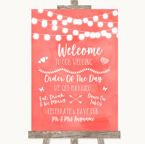 Coral Watercolour Lights Welcome Order Of The Day Personalised Wedding Sign