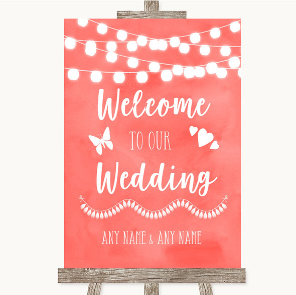 Coral Watercolour Lights Welcome To Our Wedding Personalised Wedding Sign