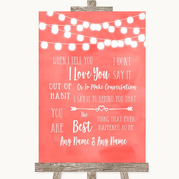 Coral Watercolour Lights When I Tell You I Love You Personalised Wedding Sign
