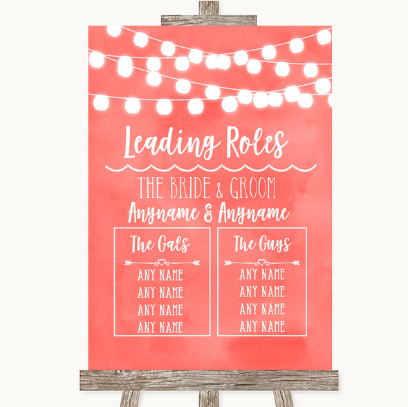 Coral Watercolour Lights Who's Who Leading Roles Personalised Wedding Sign