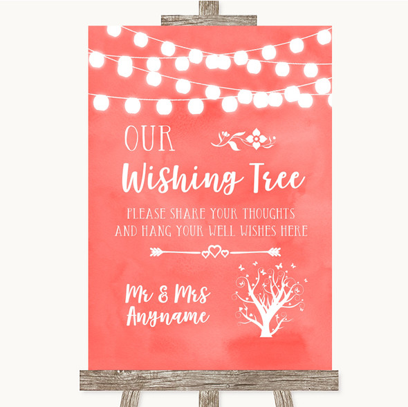 Coral Watercolour Lights Wishing Tree Personalised Wedding Sign