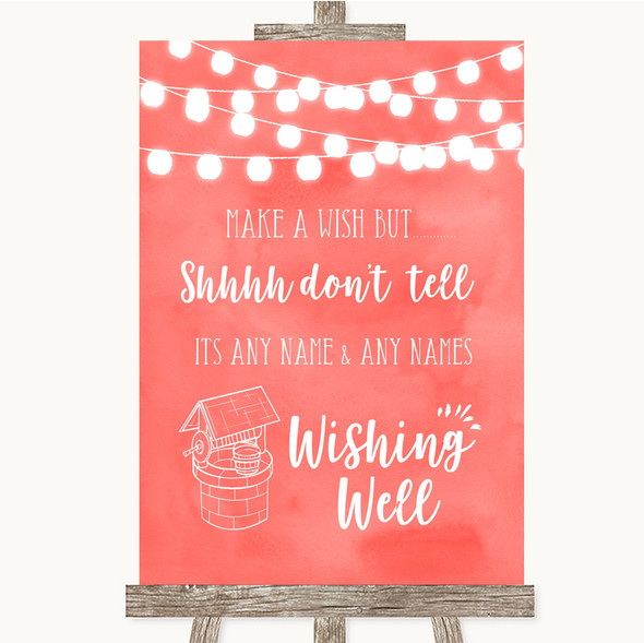 Coral Watercolour Lights Wishing Well Message Personalised Wedding Sign