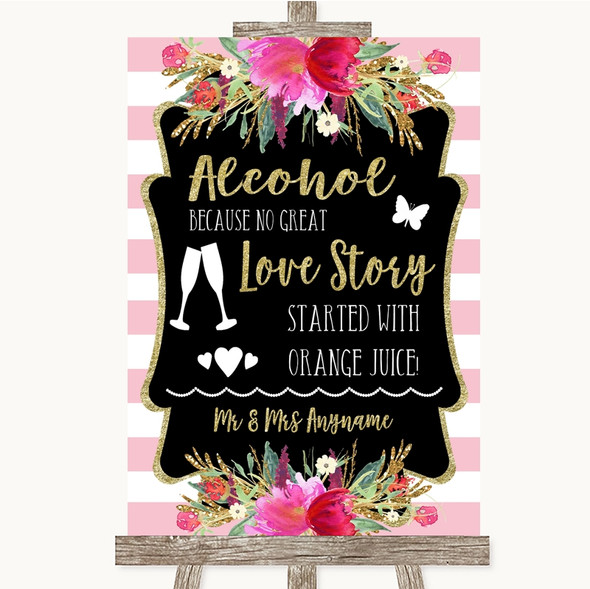 Gold & Pink Stripes Alcohol Bar Love Story Personalised Wedding Sign