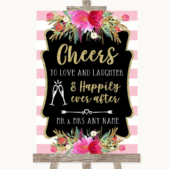 Gold & Pink Stripes Cheers To Love Personalised Wedding Sign