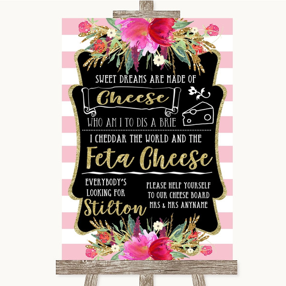 Gold & Pink Stripes Cheeseboard Cheese Song Personalised Wedding Sign