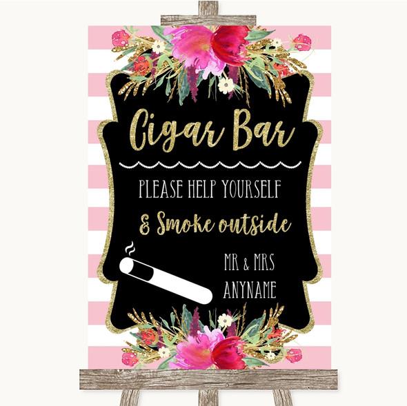 Gold & Pink Stripes Cigar Bar Personalised Wedding Sign