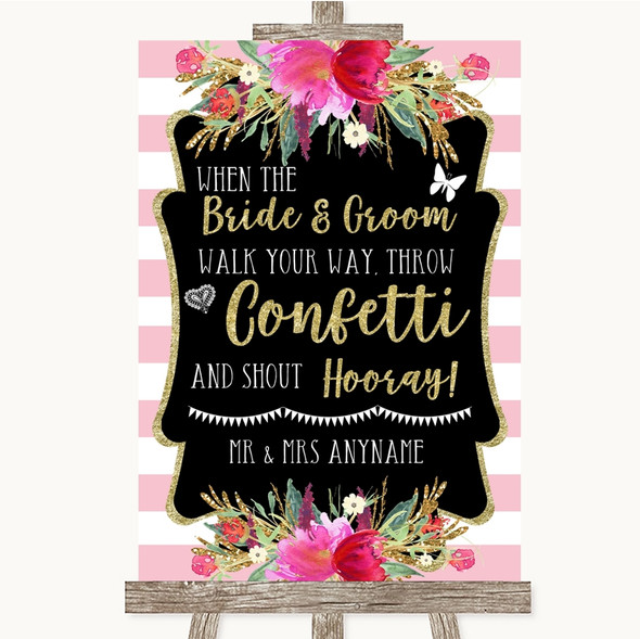 Gold & Pink Stripes Confetti Personalised Wedding Sign