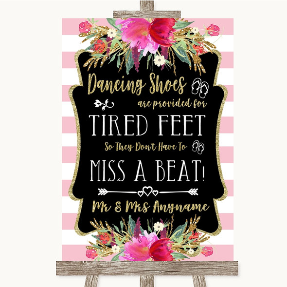 Gold & Pink Stripes Dancing Shoes Flip-Flop Tired Feet Personalised Wedding Sign