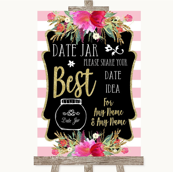 Gold & Pink Stripes Date Jar Guestbook Personalised Wedding Sign