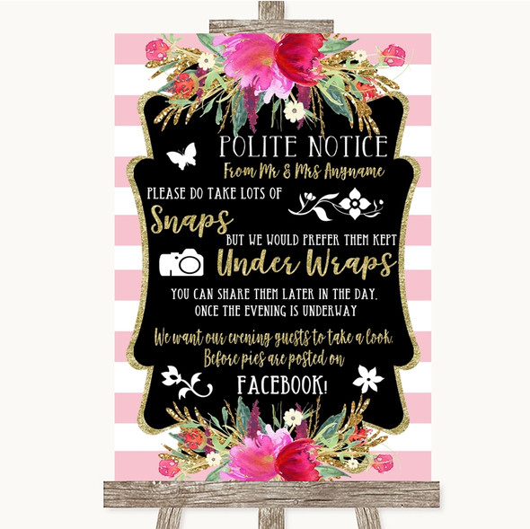 Gold & Pink Stripes Don't Post Photos Facebook Personalised Wedding Sign