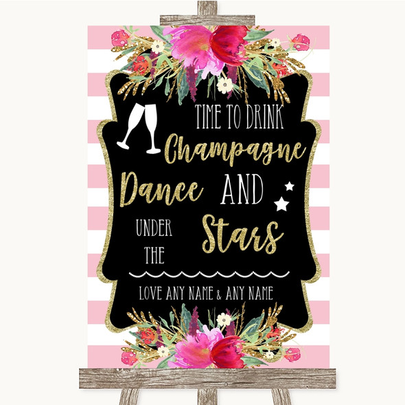 Gold & Pink Stripes Drink Champagne Dance Stars Personalised Wedding Sign