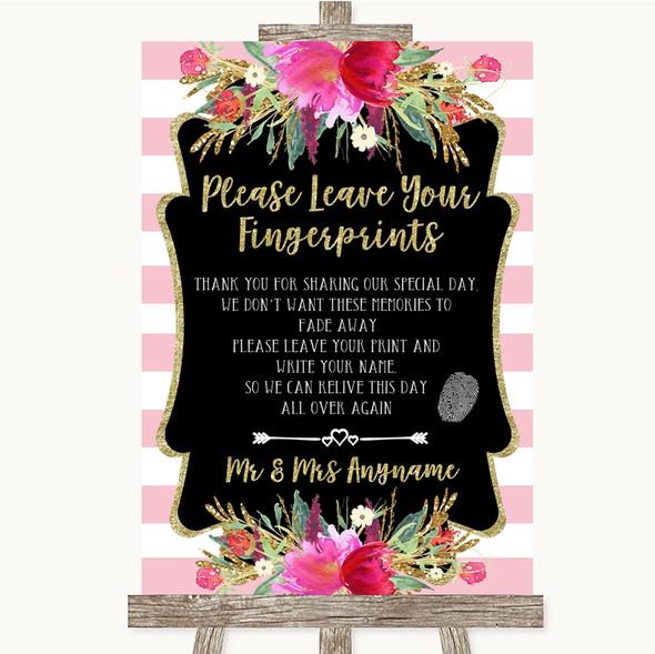 Gold & Pink Stripes Fingerprint Guestbook Personalised Wedding Sign