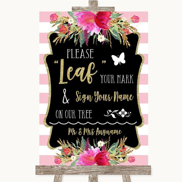 Gold & Pink Stripes Fingerprint Tree Instructions Personalised Wedding Sign