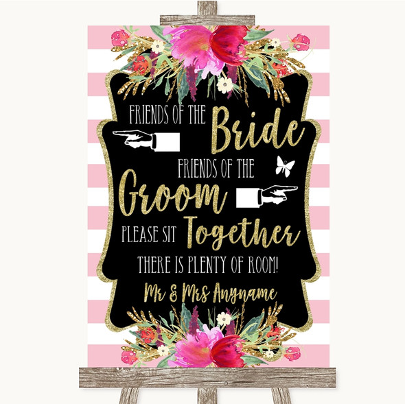 Gold & Pink Stripes Friends Of The Bride Groom Seating Personalised Wedding Sign