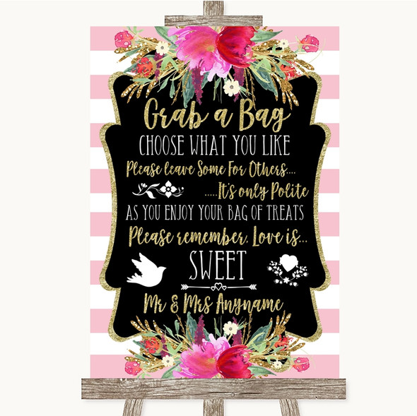 Gold & Pink Stripes Grab A Bag Candy Buffet Cart Sweets Wedding Sign