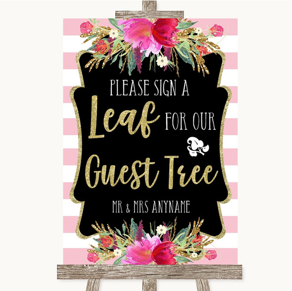 Gold & Pink Stripes Guest Tree Leaf Personalised Wedding Sign