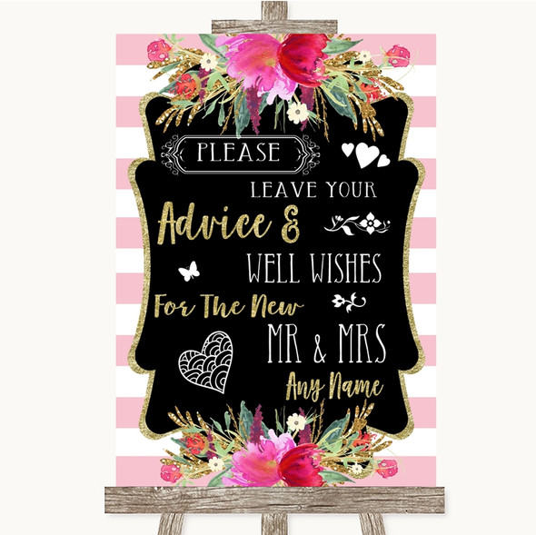 Gold & Pink Stripes Guestbook Advice & Wishes Mr & Mrs Personalised Wedding Sign