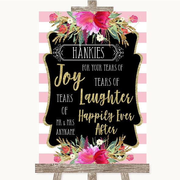 Gold & Pink Stripes Hankies And Tissues Personalised Wedding Sign