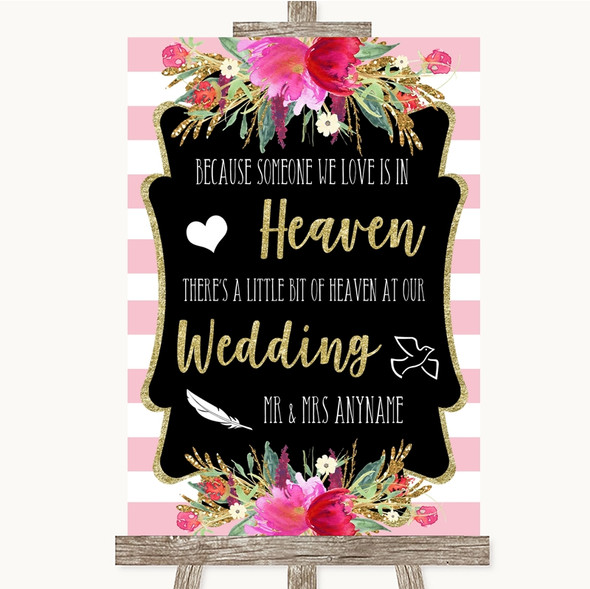 Gold & Pink Stripes Heaven Loved Ones Personalised Wedding Sign