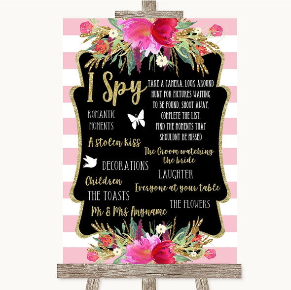 Gold & Pink Stripes I Spy Disposable Camera Personalised Wedding Sign
