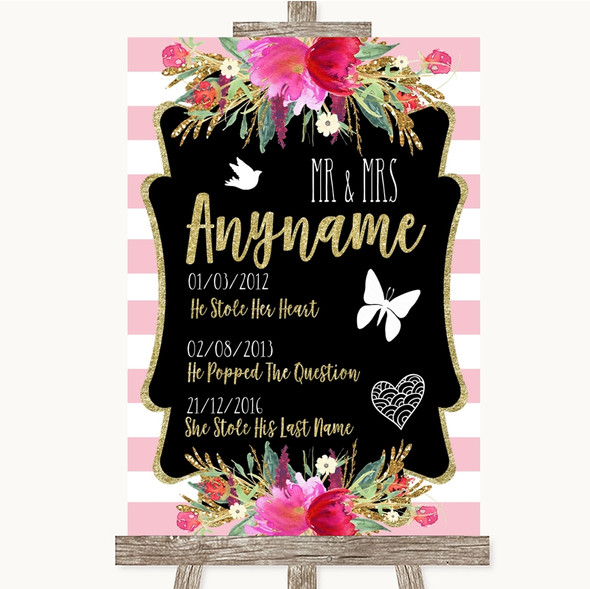 Gold & Pink Stripes Important Special Dates Personalised Wedding Sign