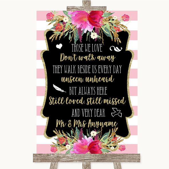 Gold & Pink Stripes In Loving Memory Personalised Wedding Sign